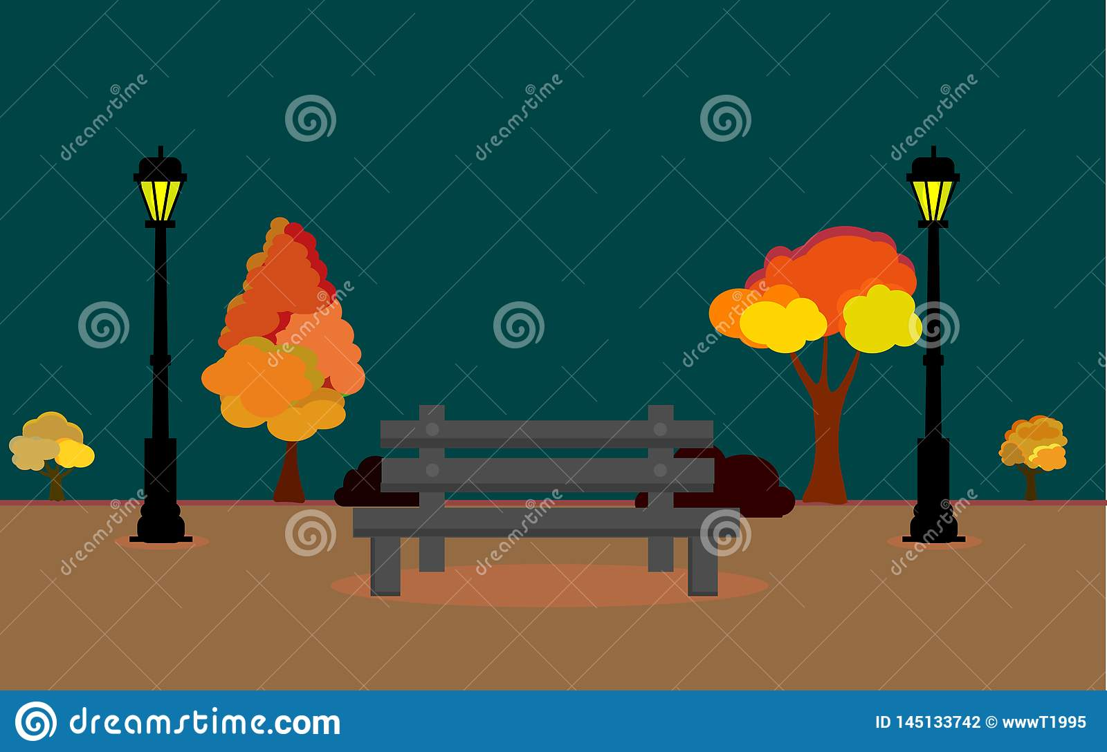 Vector illustration of Autum landscape with full moon and leaves falling from the tree, Vector Autumn field at night timee, Autumn