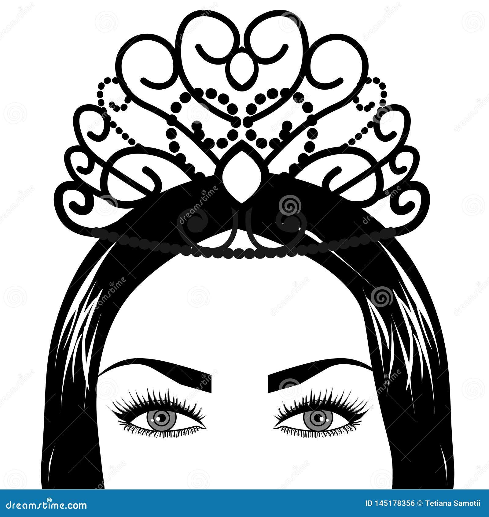 Web Tribal Fusion Boho Diva. Beautiful Asian divine girl with ornate crown, kokoshnik inspired. Bohemian goddess.