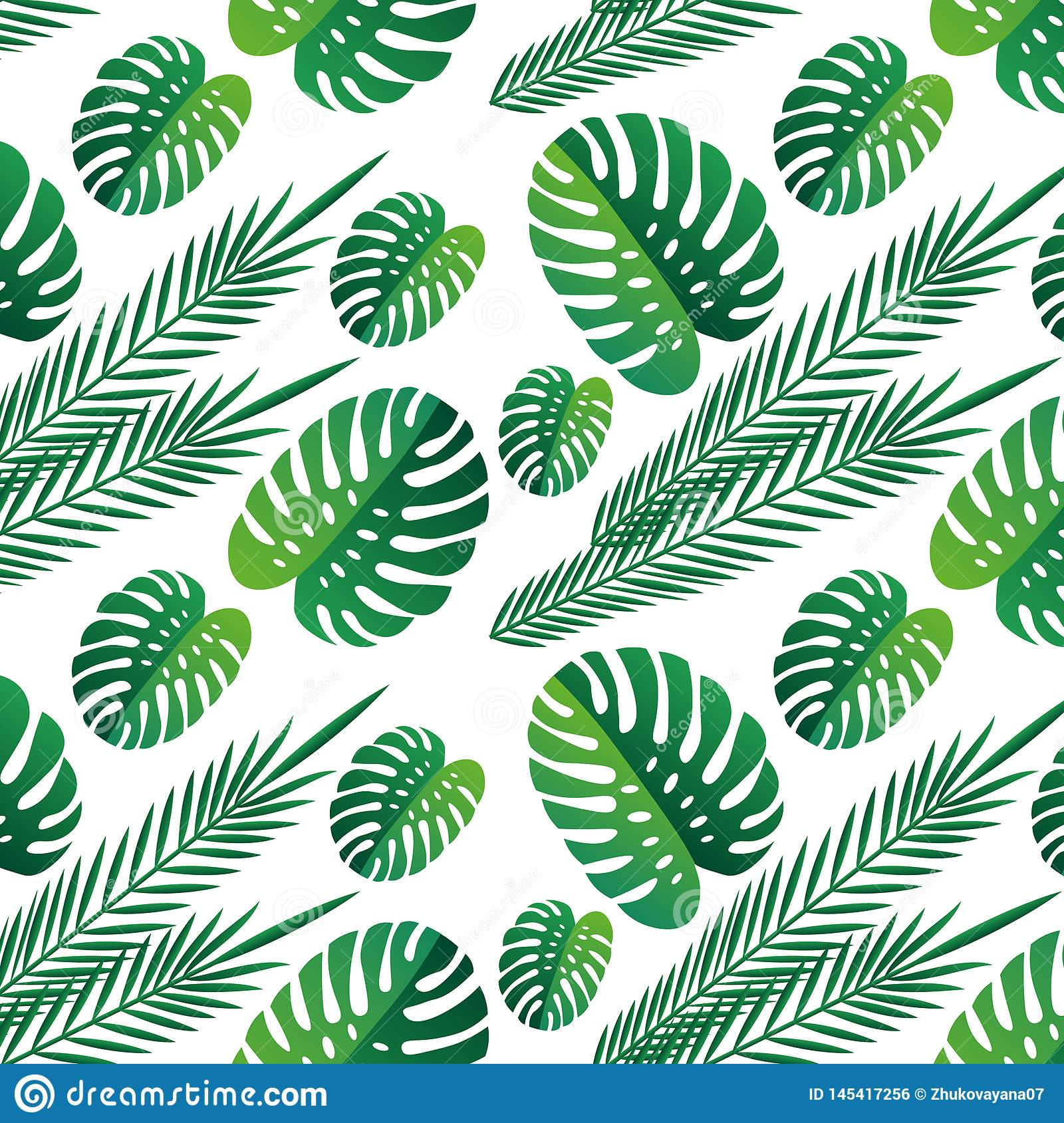 Tropical  green leaves seamless pattern white background. Exotic wallpaper. tropical leaves. nature, background print
