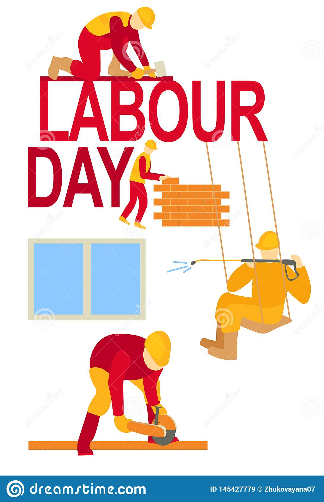 Labour day workers poster banner 1 May greeting card  illustration of Labor Day Workers in action