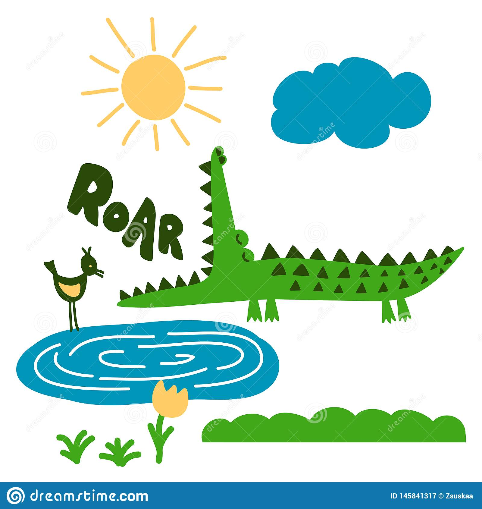 Crocodile and nature print design with `roar` text- funny hand drawn doodle, cartoon alligator.