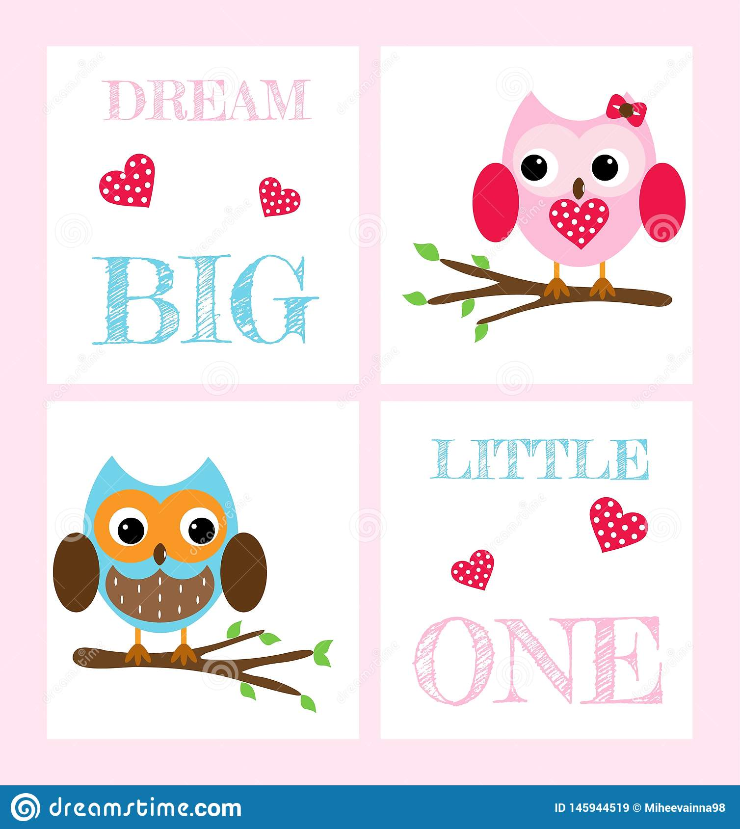Set of postcards with cute owls and inscriptions