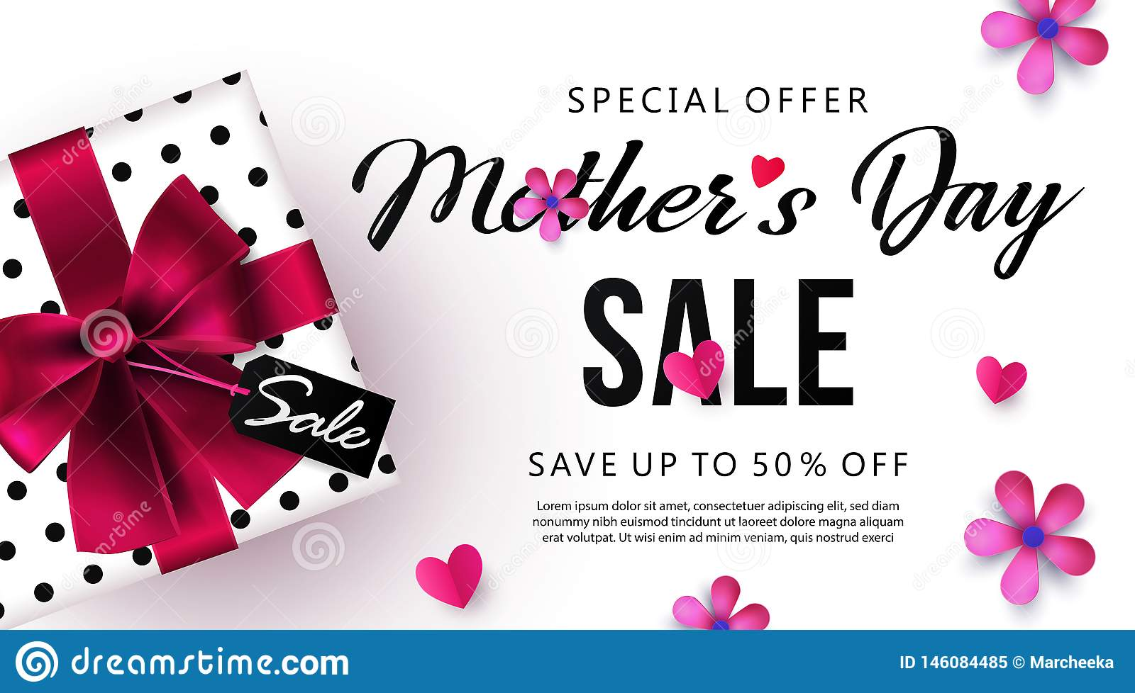 Mothers Day sale banner or poster design with beautiful gift box, paper hearts and flowers