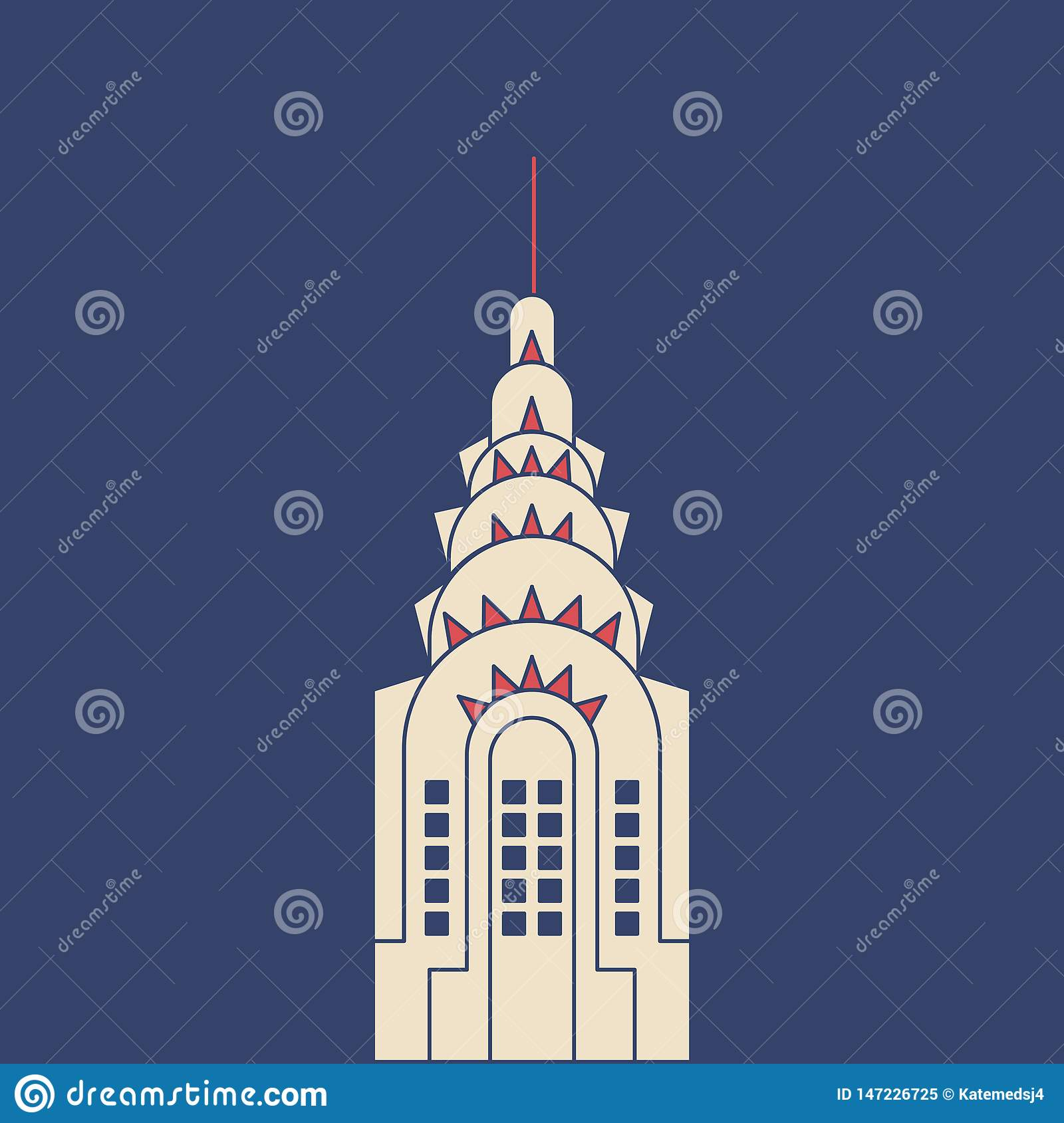 Vector Chrysler Building in modern flat style on light background. Poster with Chrysler Building
