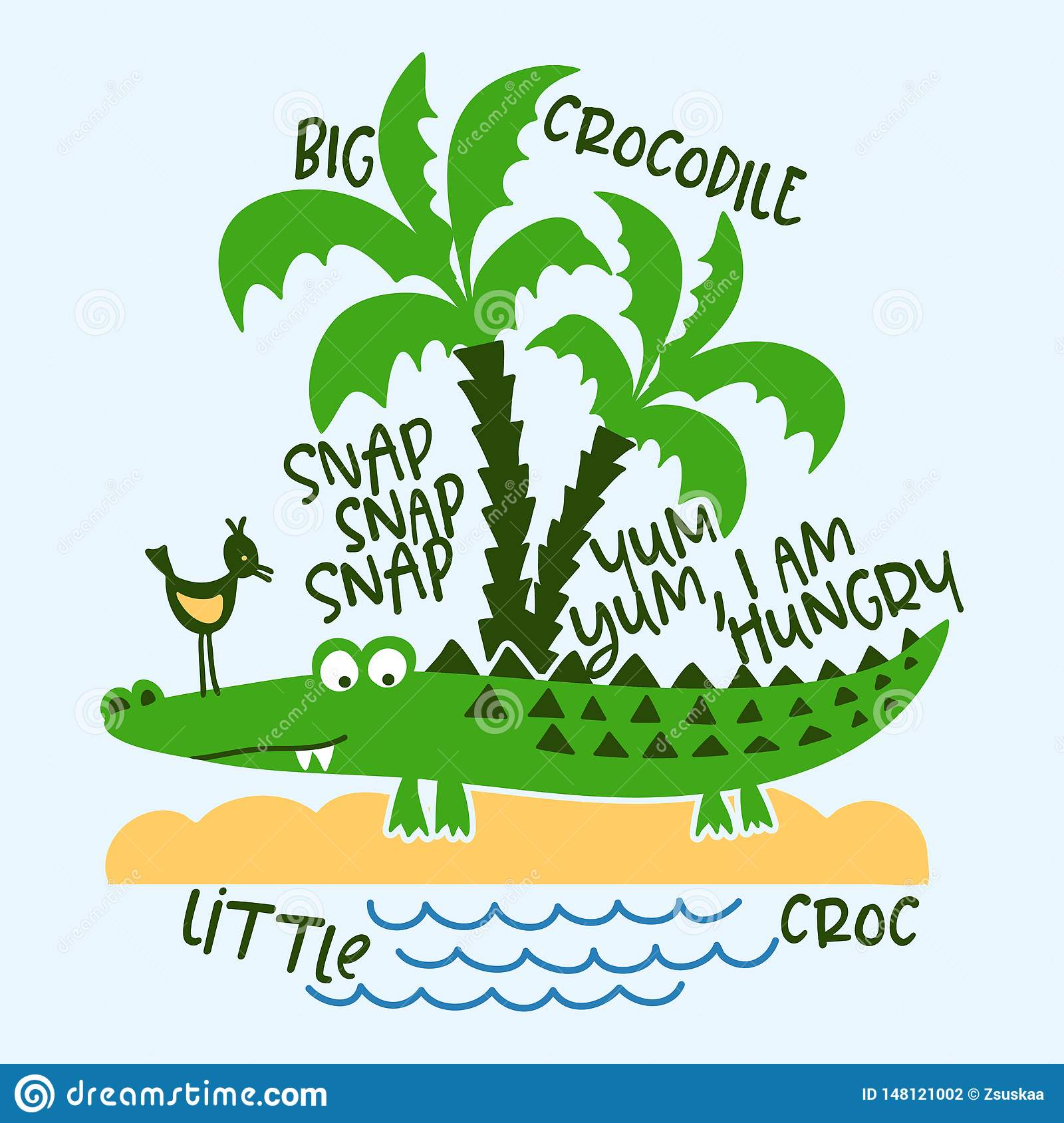 Crocodile and nature print design with text
