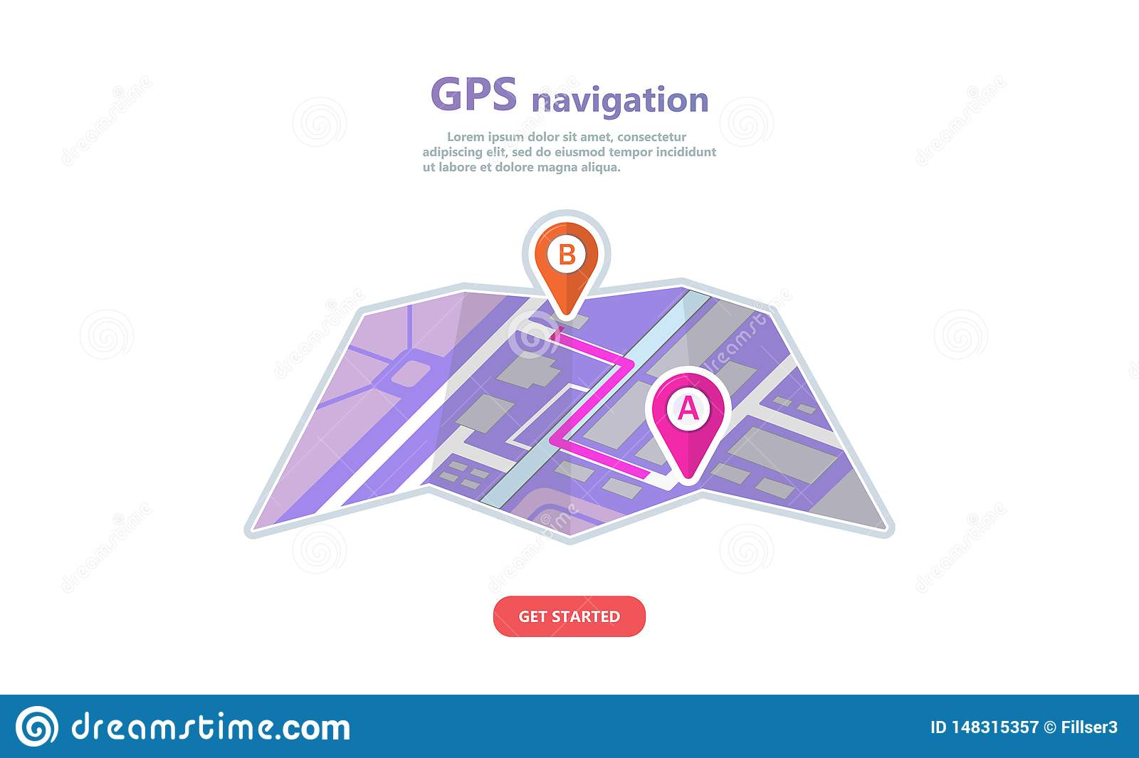 Concept GPS navigation, point location on a city map.
