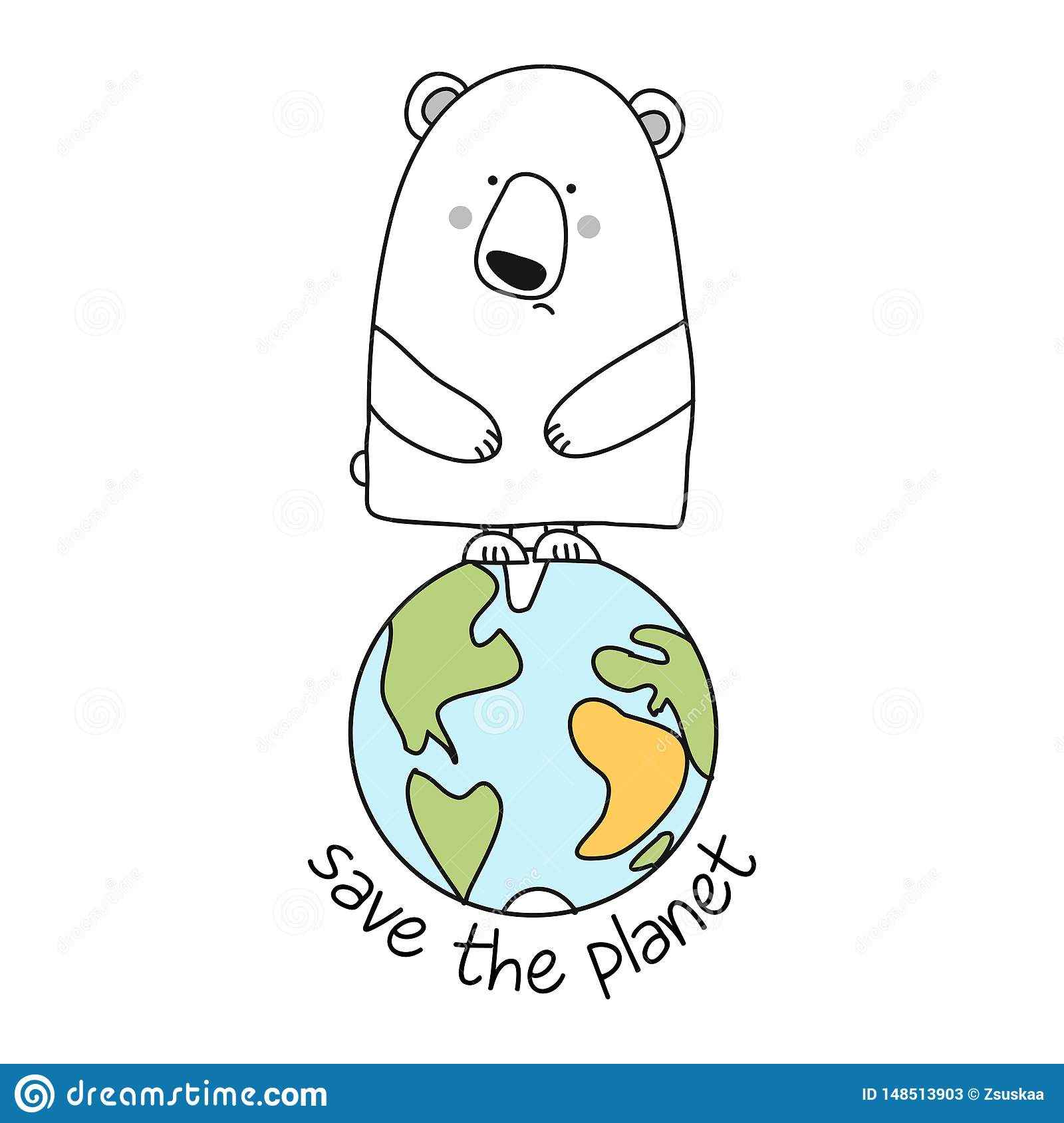 Save The Planet Funny Vector Text Quotes And Polar Bear