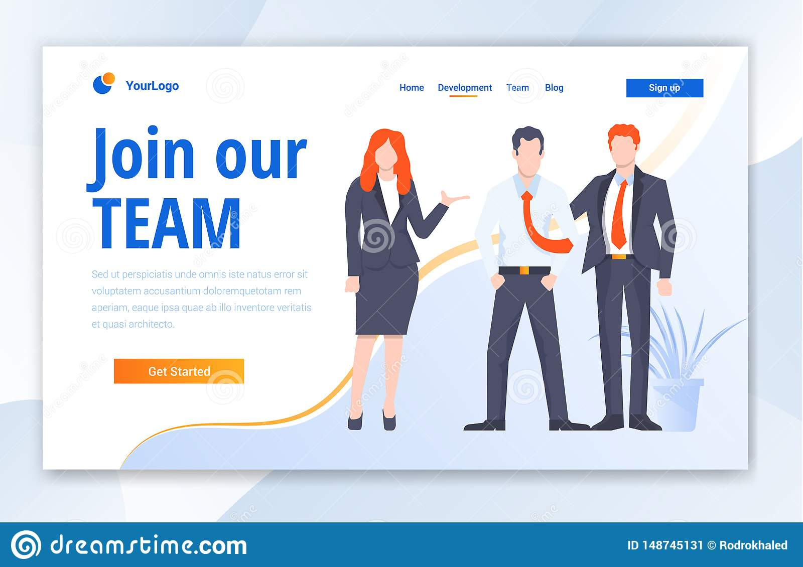 Team Work Creative Center website template design. Vector illustration concept of web page design for website