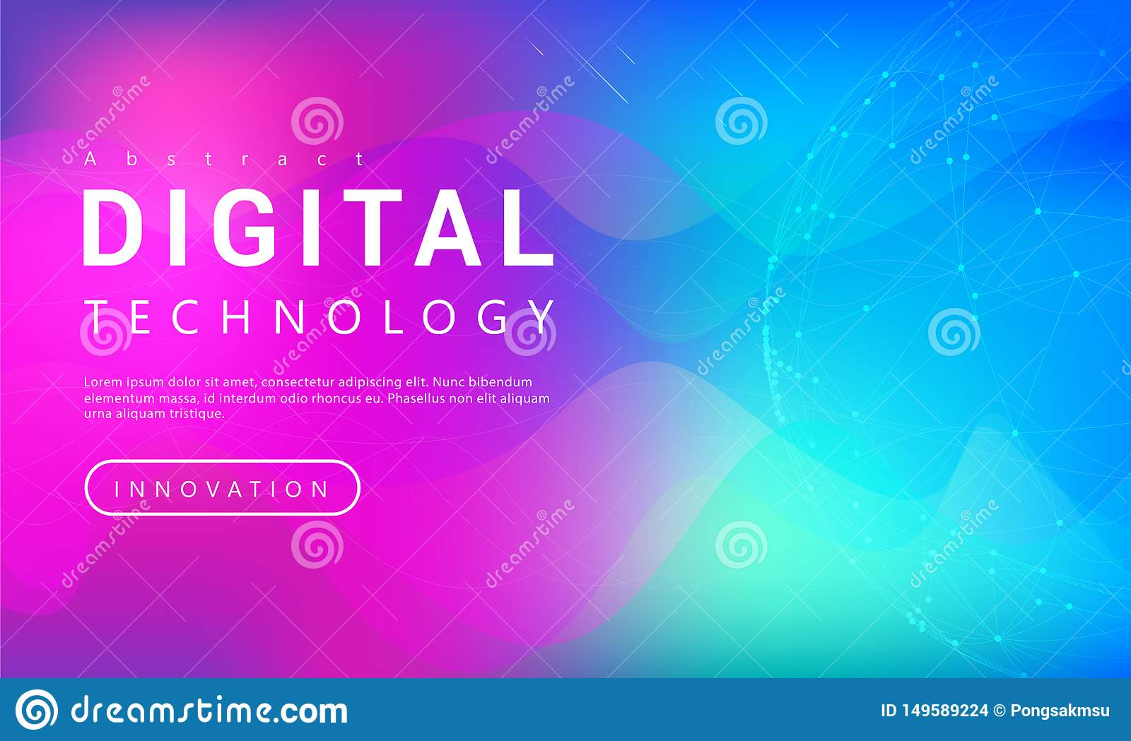 Digital technology banner purple blue background concept with world line light effects