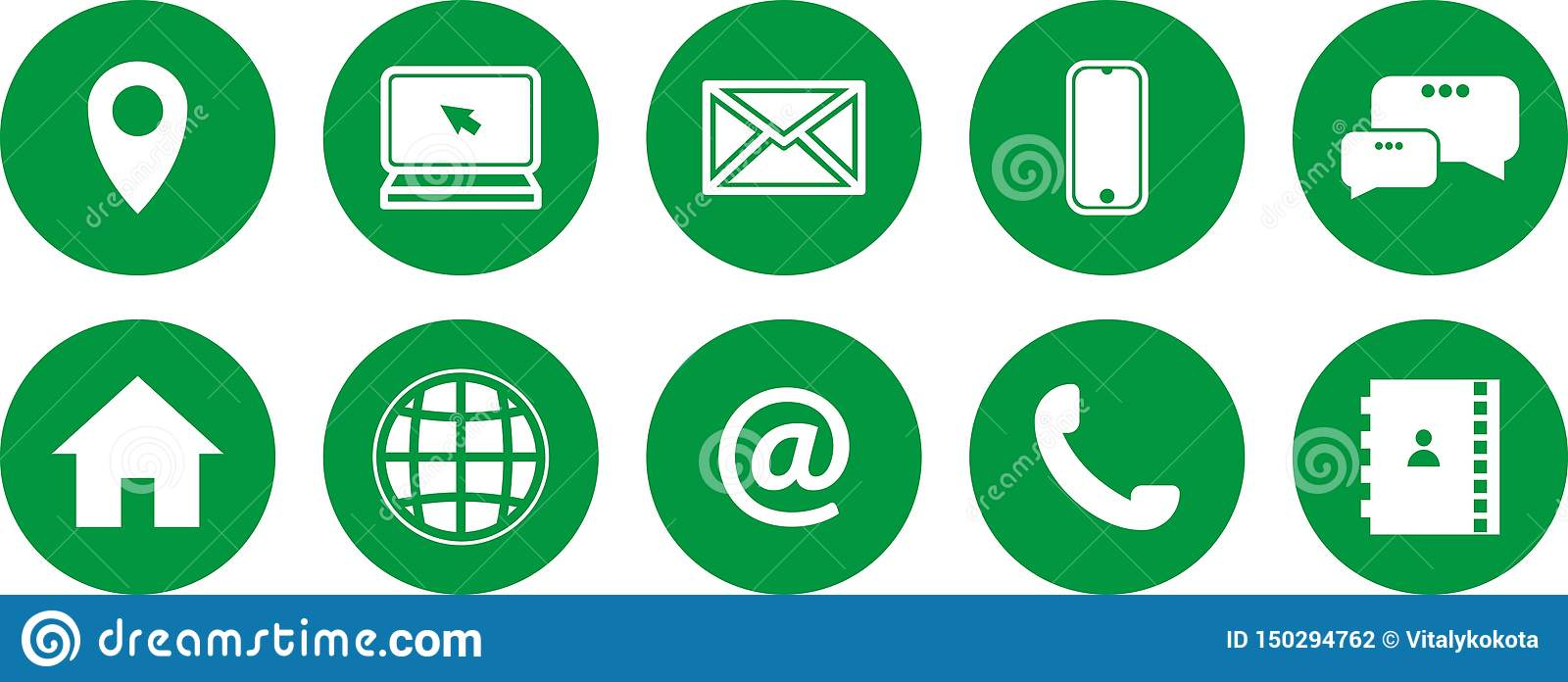 Set of green icons. communications icons. contact us icons