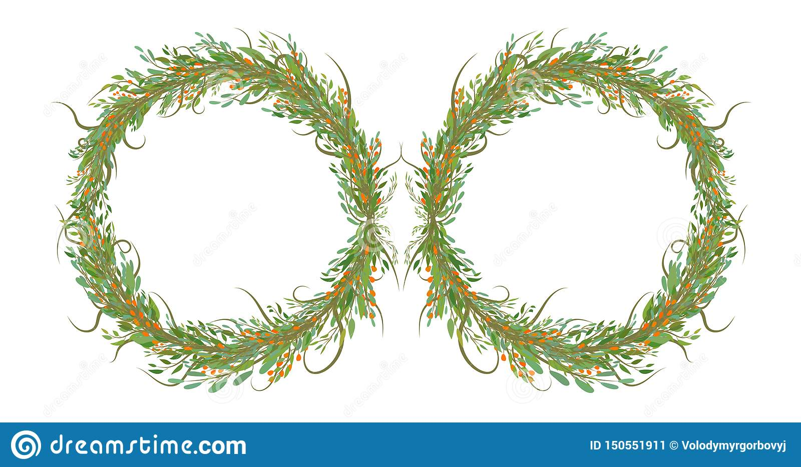 Two circles of flowers with leafs