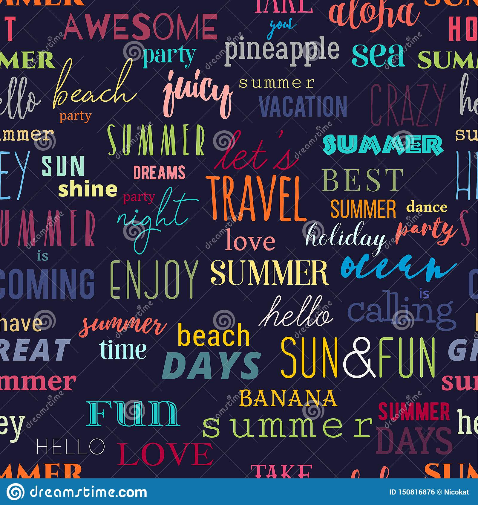 Seamless pattern with summer typography quotes. Colorful design for print, wallpaper, banner, fabric