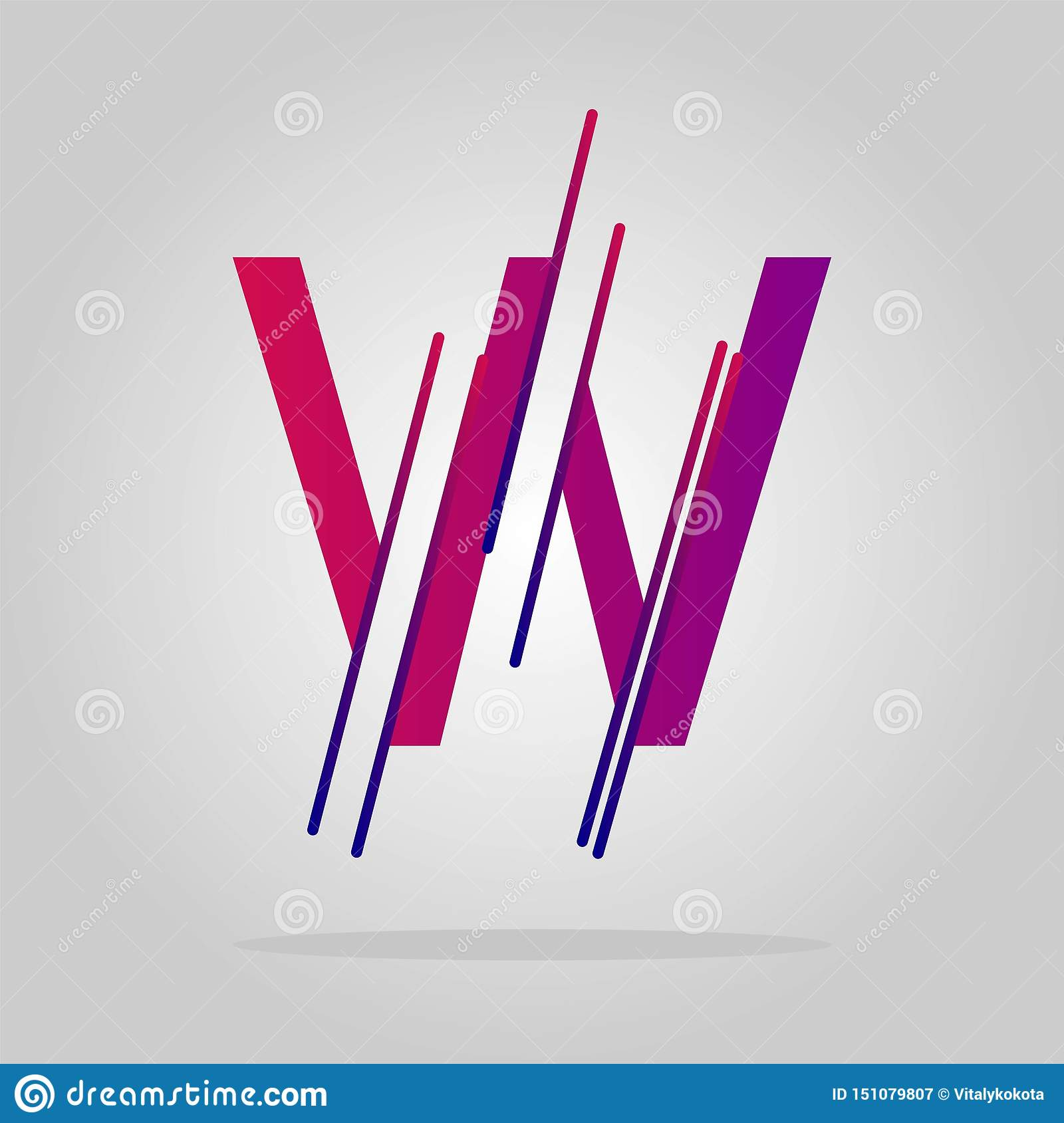 Logo letter w geometric lines. abstract vector logo