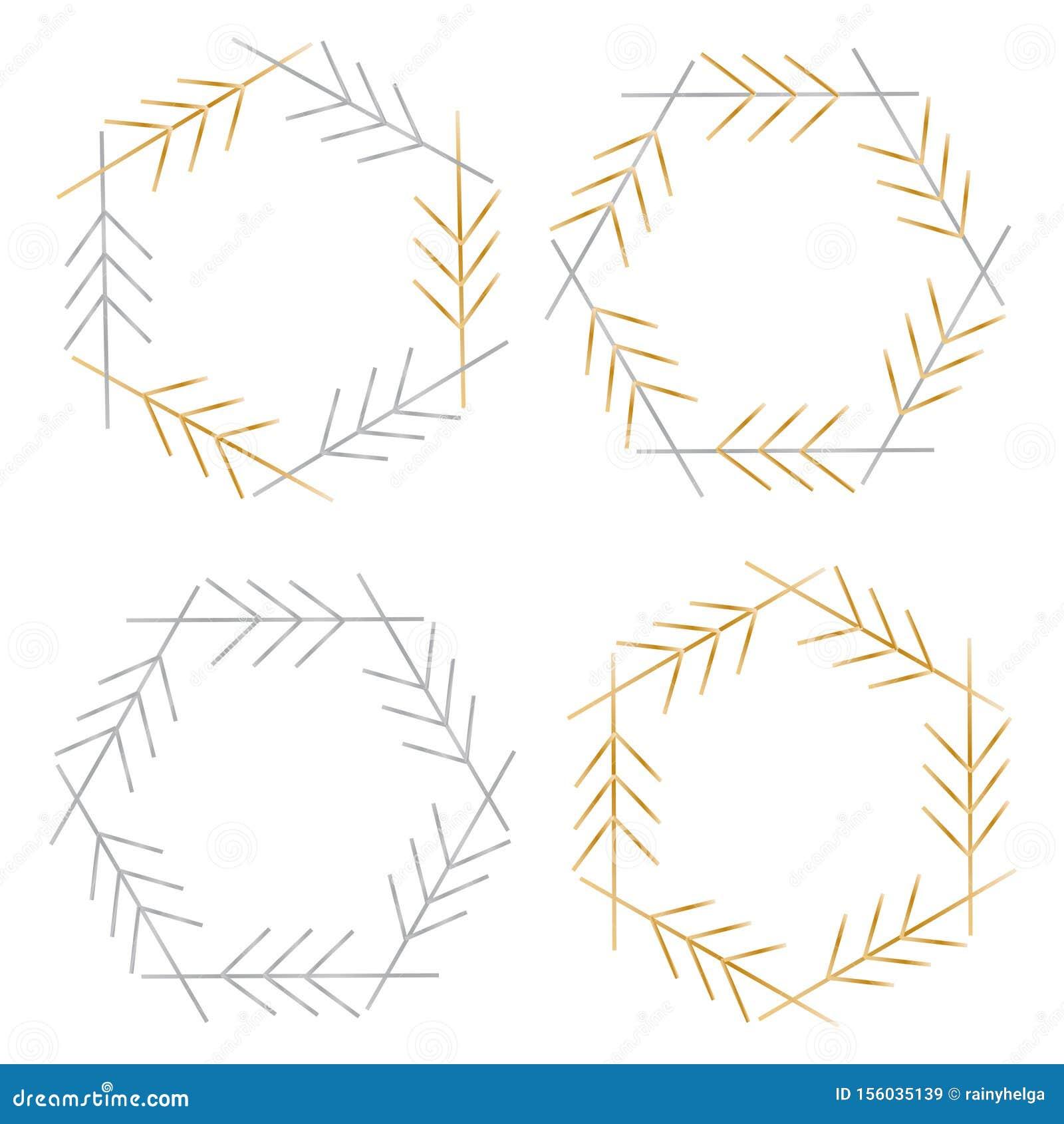 Set Of 4 Silver And Gold Elegant Frames Stock Vector Illustration Of Greek Design 156035139