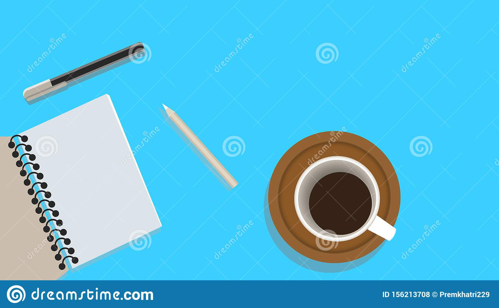 Set of flat design illustration of modern business office and workspace. Top view of desk background