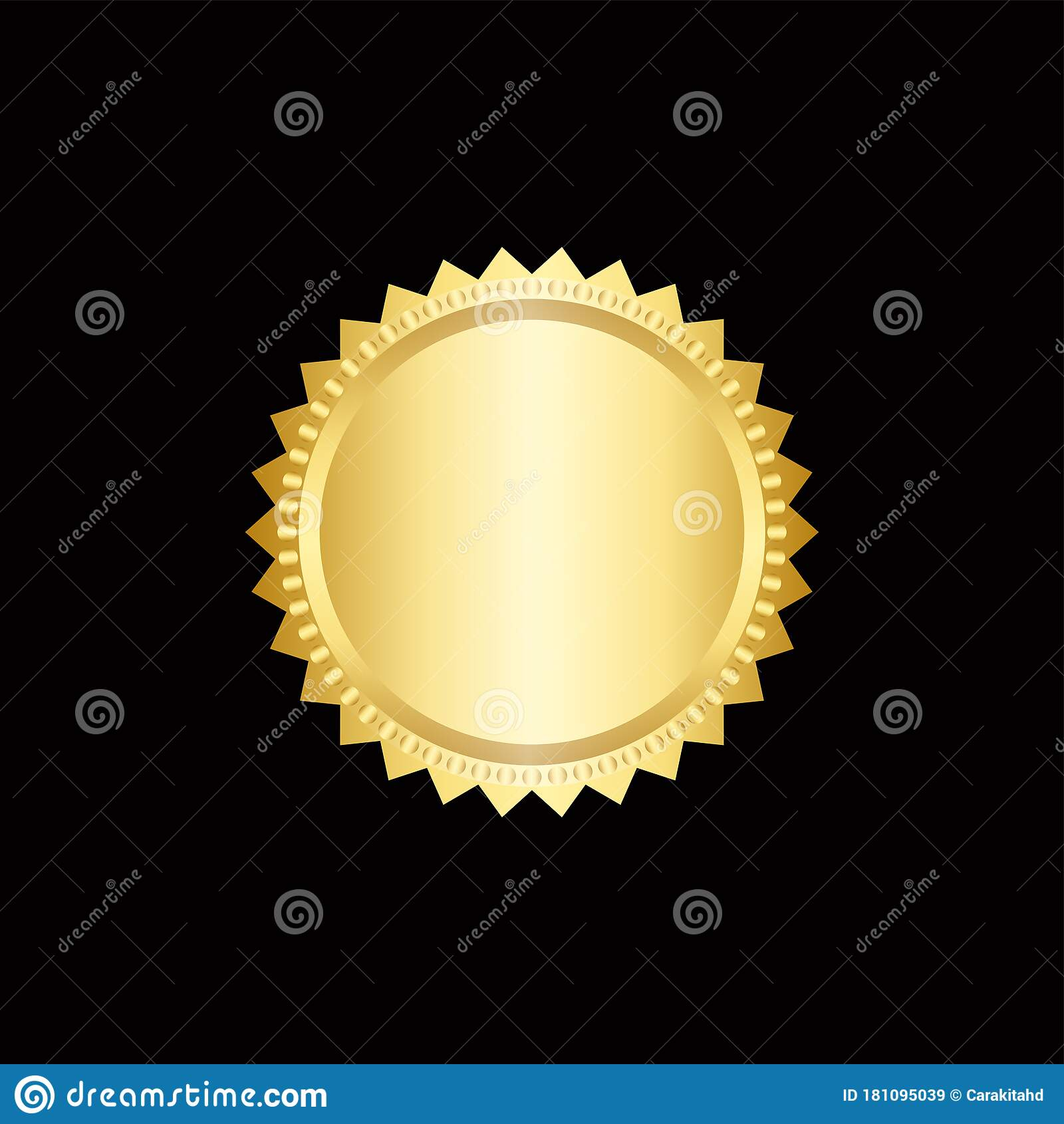 Round Golden Badge Isolated On A Black Background, Seal