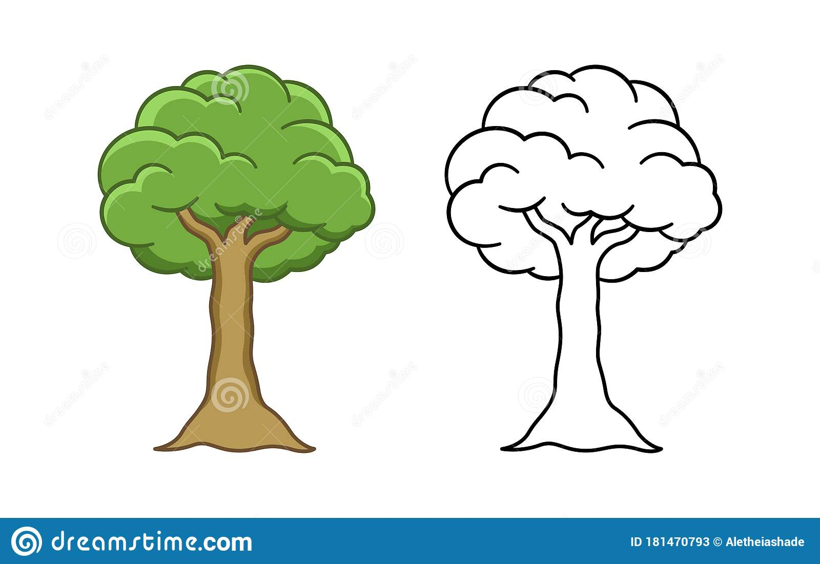 Cartoon Tree Colored And Outline Vector Illustration Simple Coloring Worksheet Workbook Page For Kids Stock Vector Illustration Of Coloring Book 181470793 C4d 3ds dae dxf fbx obj wrl oth. dreamstime com