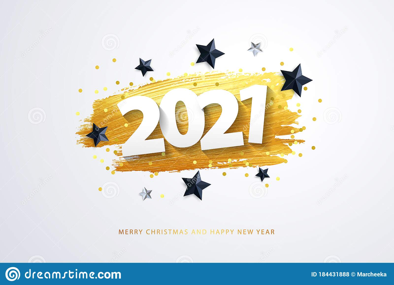 Happy New Year 2021 Vector Holiday Illustration 2021 Text Design Stock Vector Illustration Of Invitation Brush 184431888
