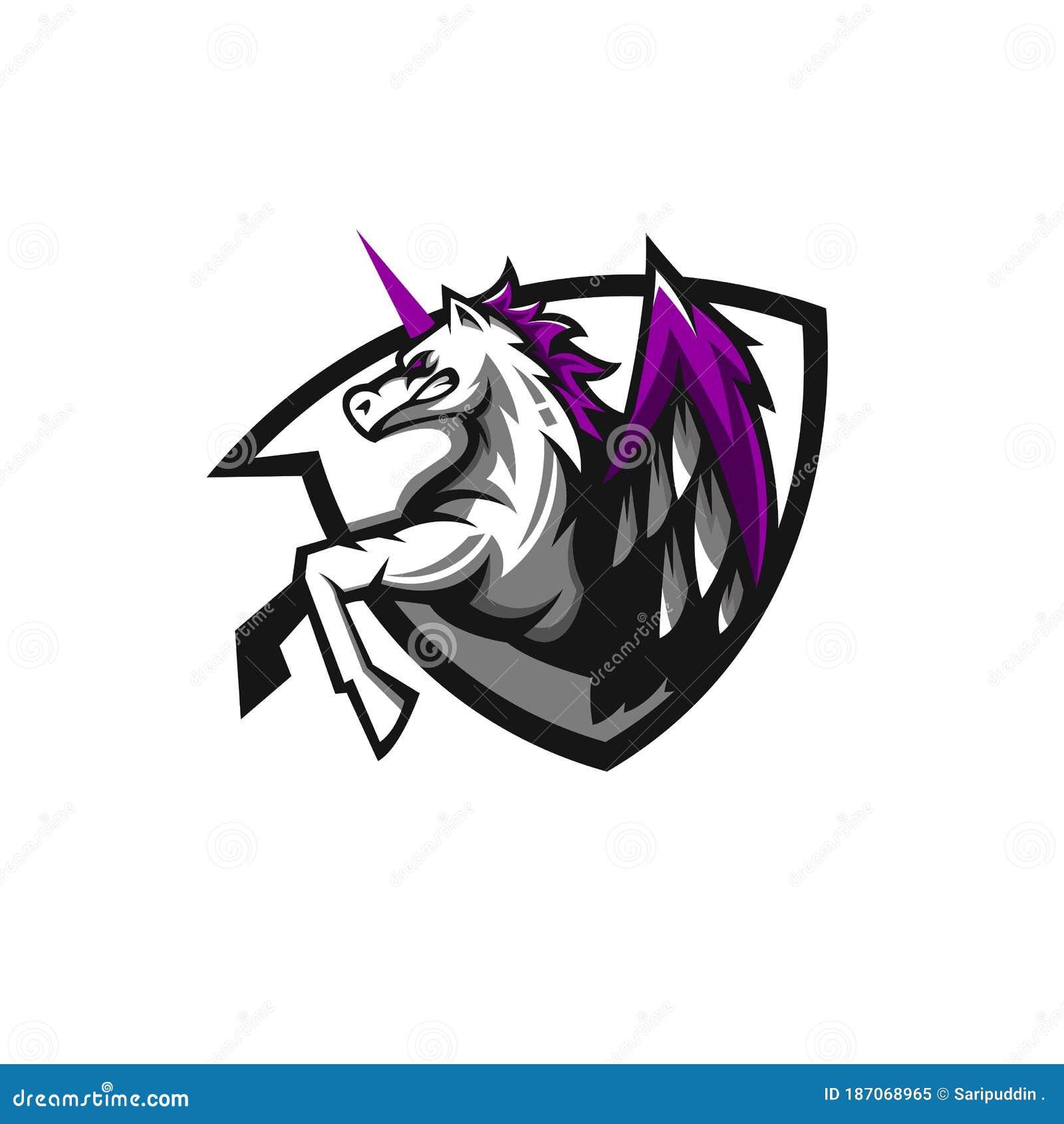Pegasus mascot logo stock vector. Illustration of emblem   20