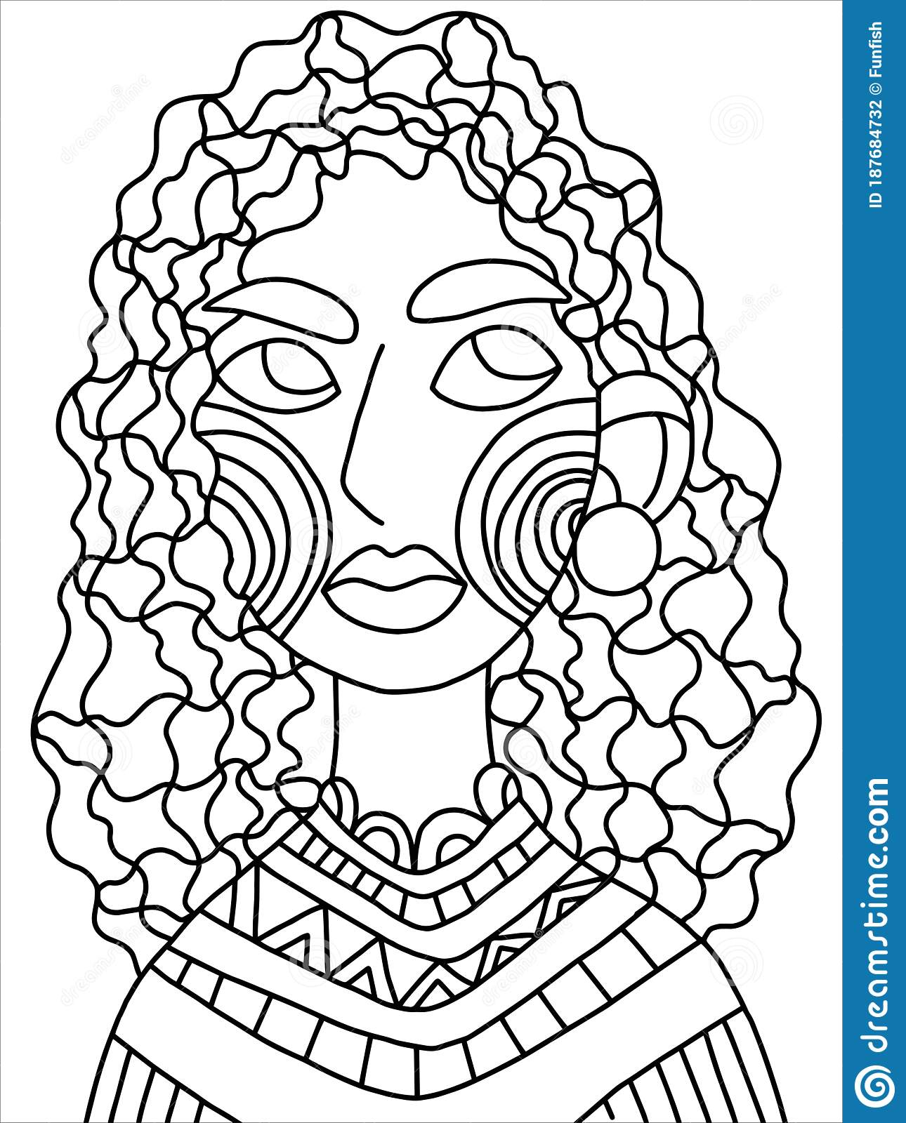 Serious Female Portrait Coloring Page Stock Vector Illustration Stock Vector Illustration Of Contour Coloring 187684732