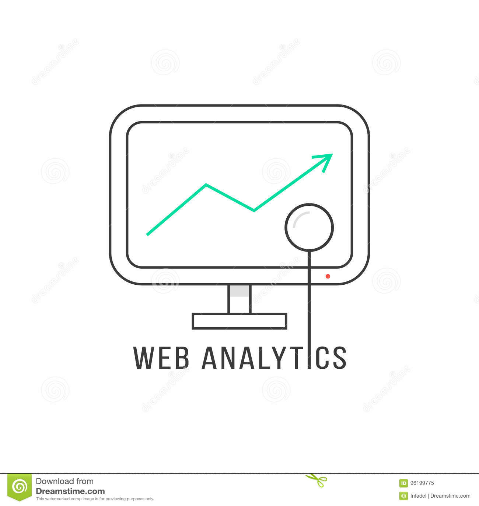 Web analytics with black thin line pc