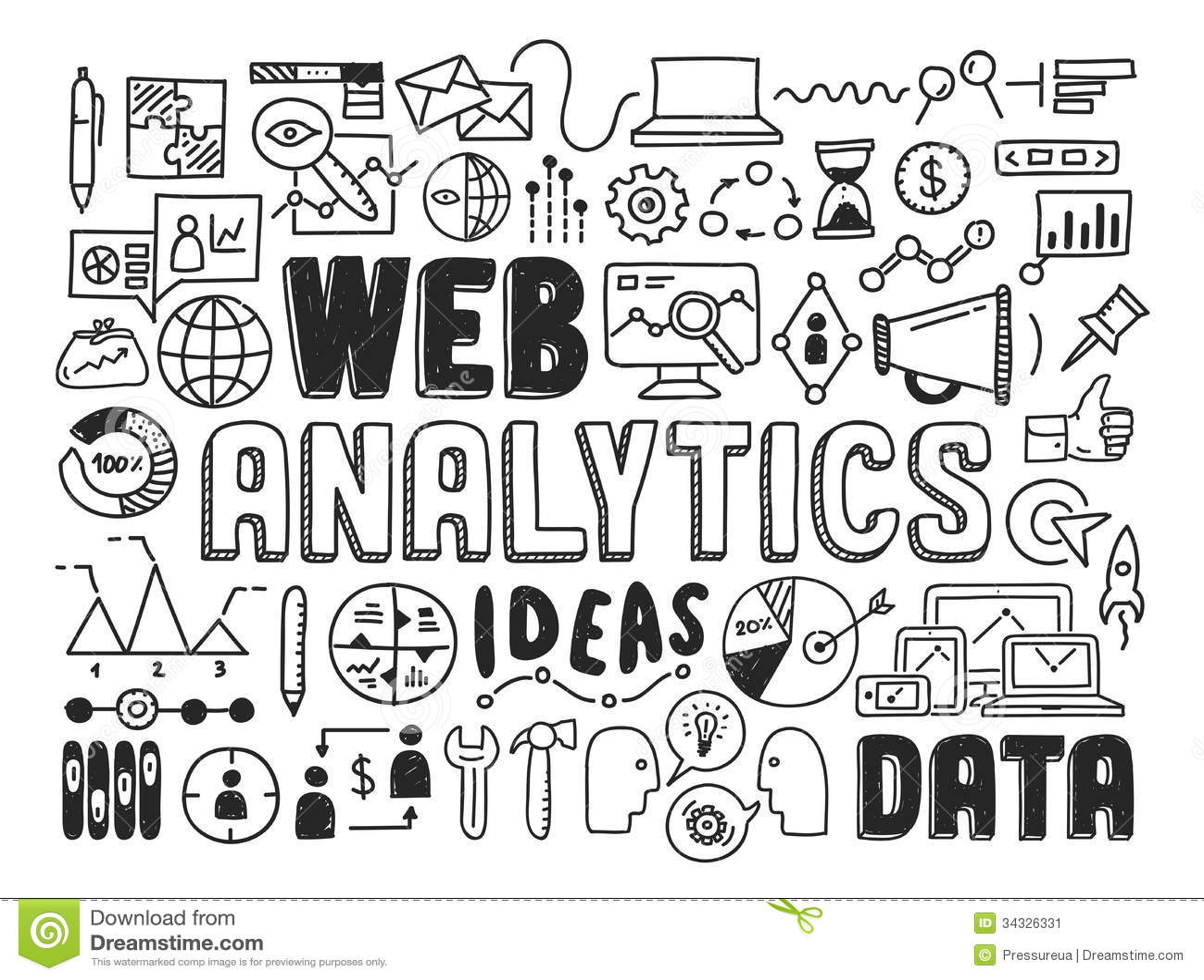 Vector Illustration Web Designs: Web Analytics Doodle Elements Stock Vector