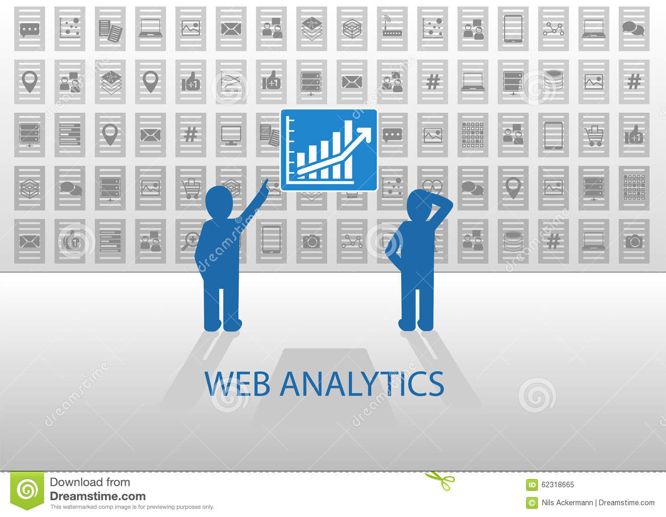 Web Analytics Illustration With Two Data Analysts. Online Data ...