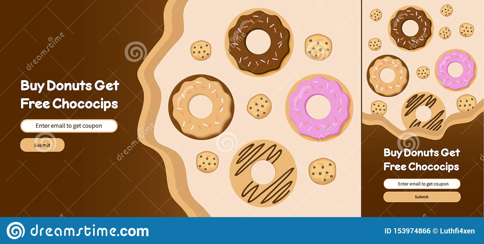 Donuts and Choco chips web banner template design