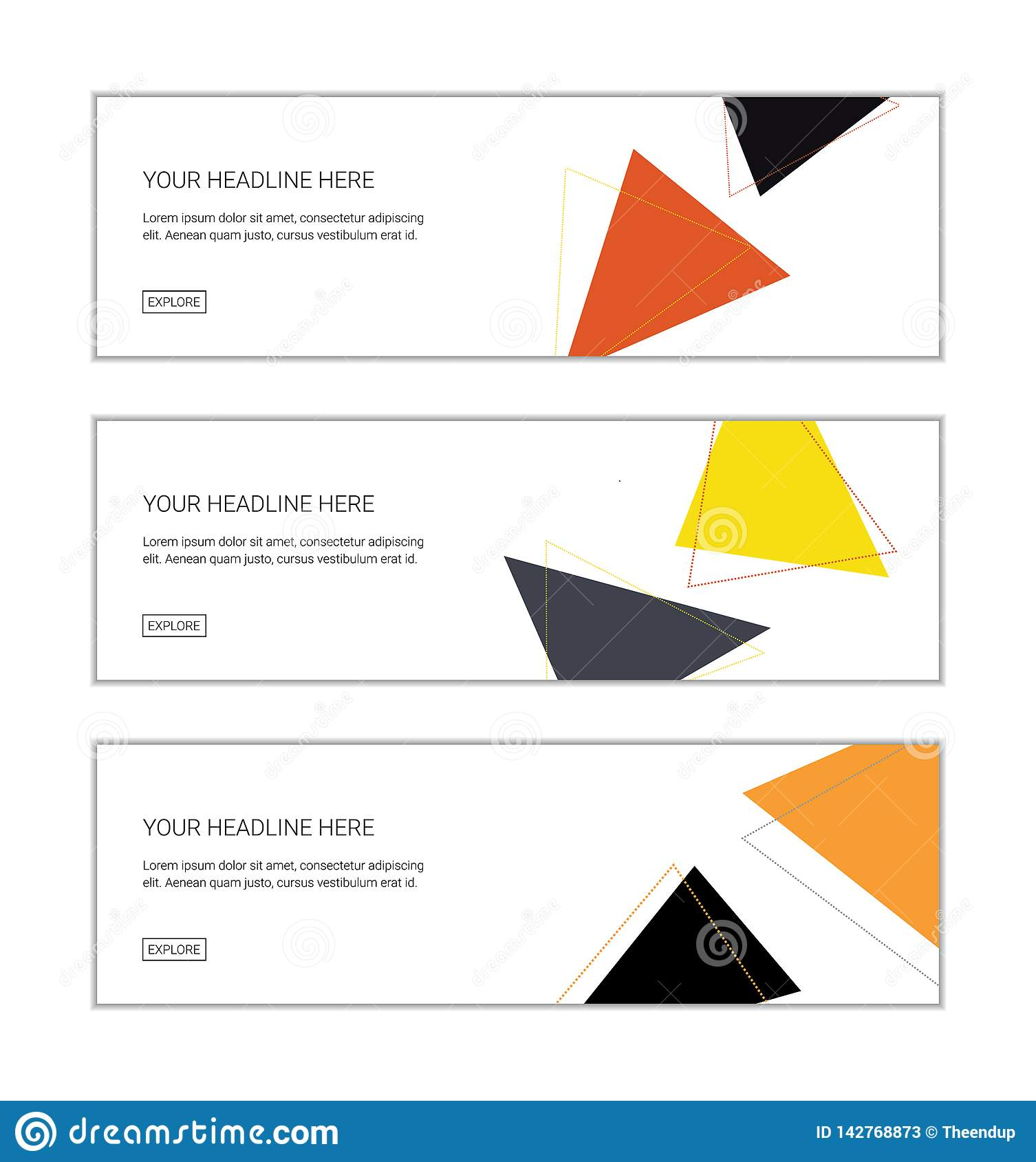 Web Banner Design Template Set Consisting Of Abstract Backgrounds