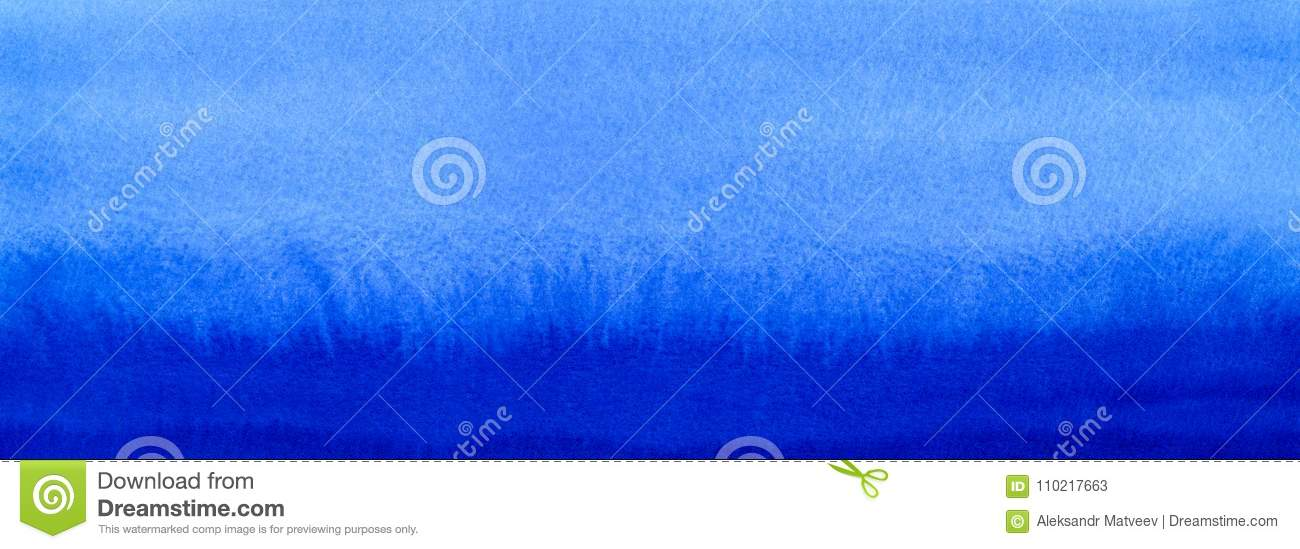 Web banner Marine or navy blue watercolor gradient fill background. Watercolour stains. Abstract painted template with paper textu