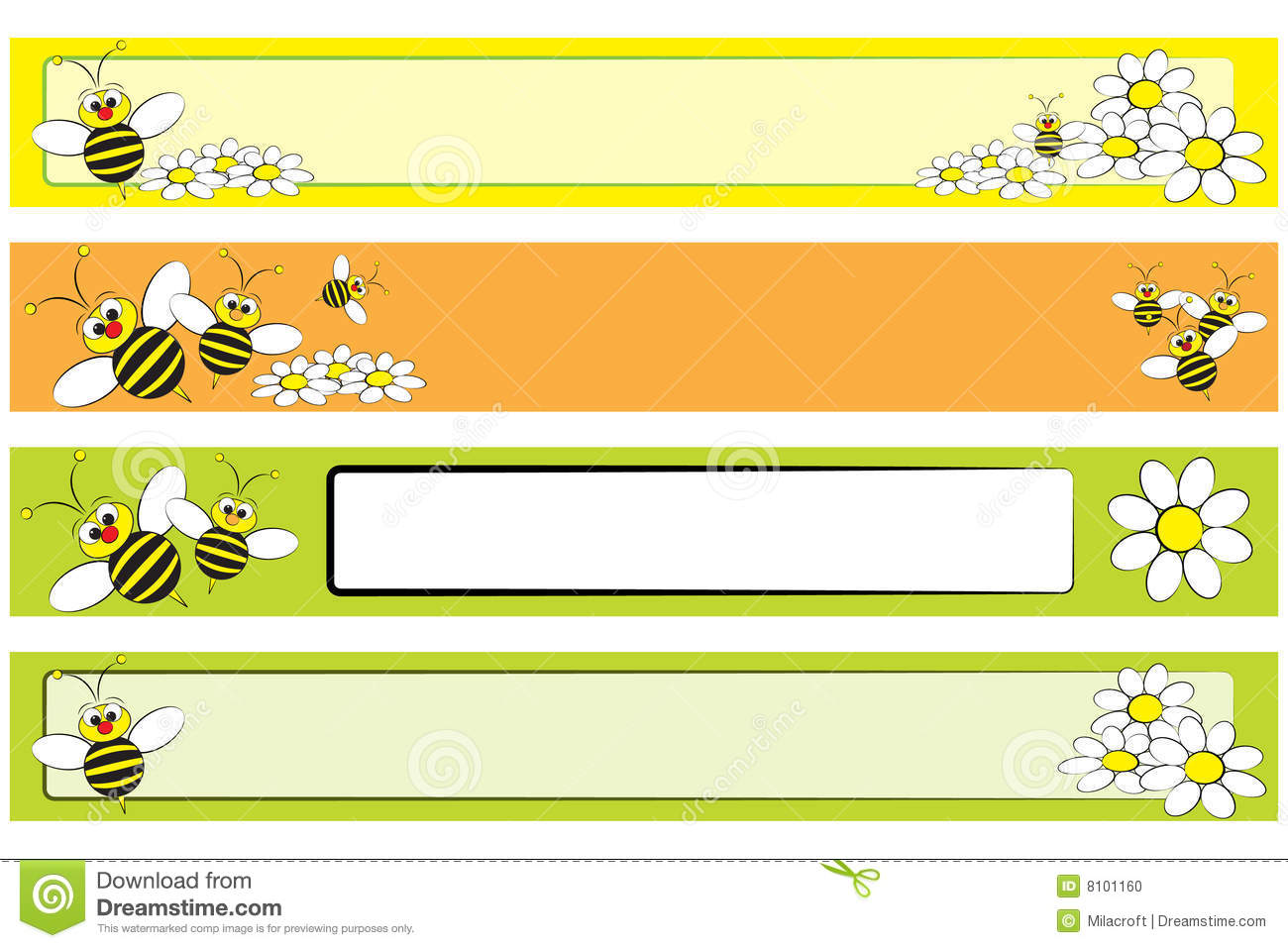 web banner set - bee and daisies for children stock vector