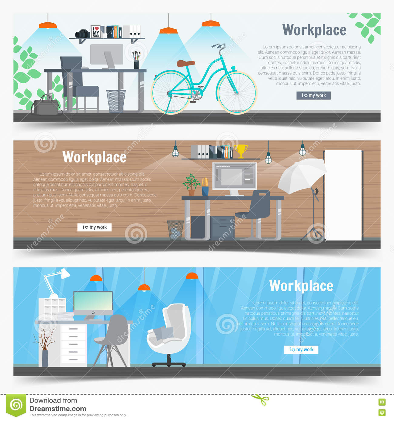 Web Banner Set Office Workplace Interior Design Graphic Business Objects Elements And Equipment Flat Illustration