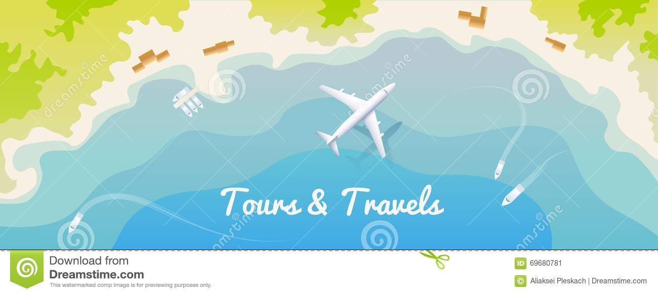 web banner for site travel agency flat design top view stock