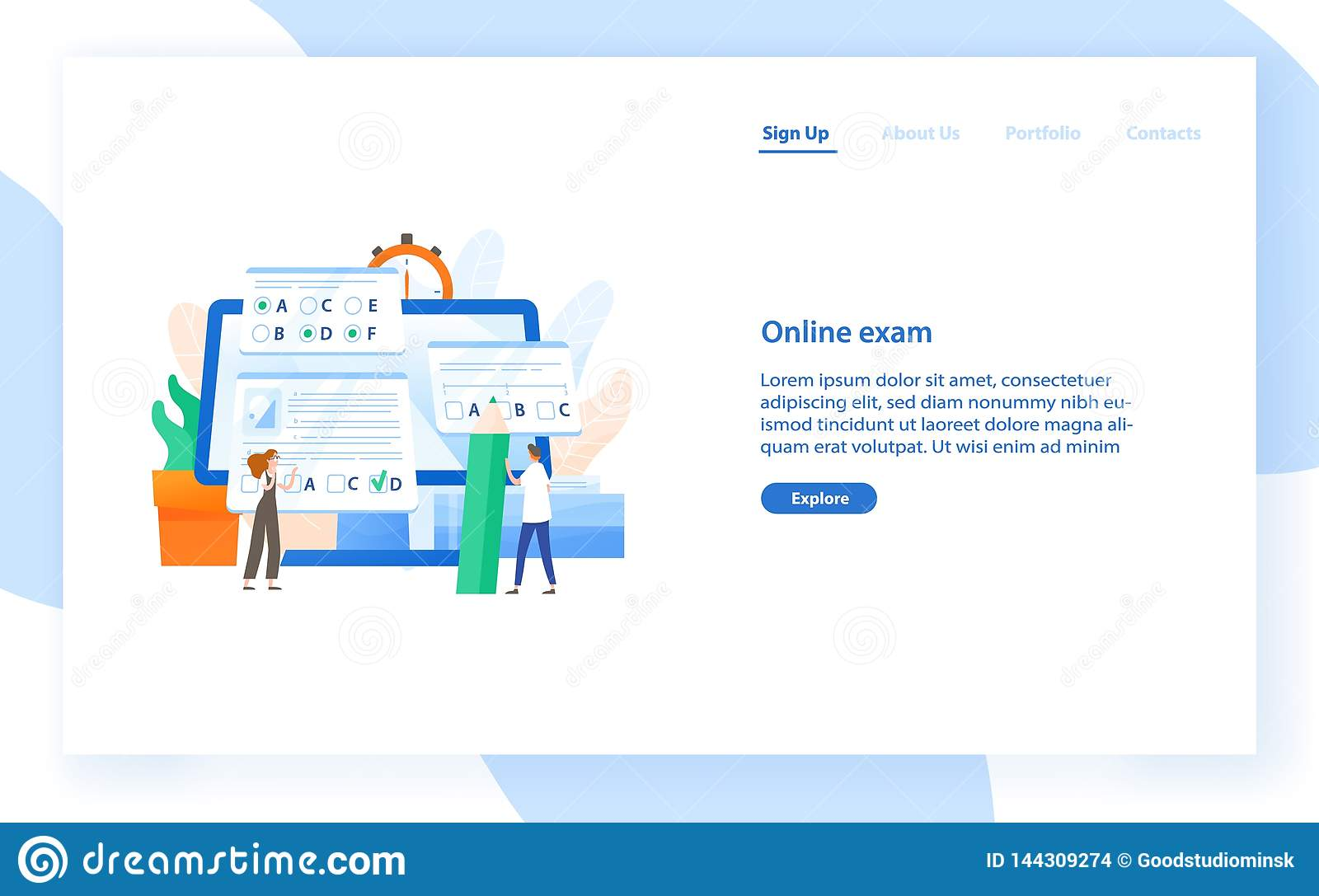 Web banner template with giant computer and tiny students passing internet test. Online exam, distant learning or