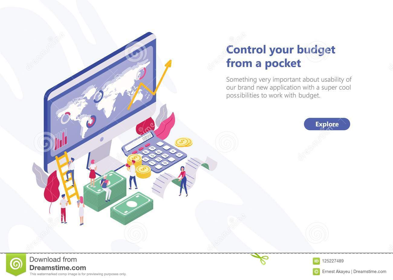 Web banner template with tiny people walking near computer with app for budget planning, sitting on money bills