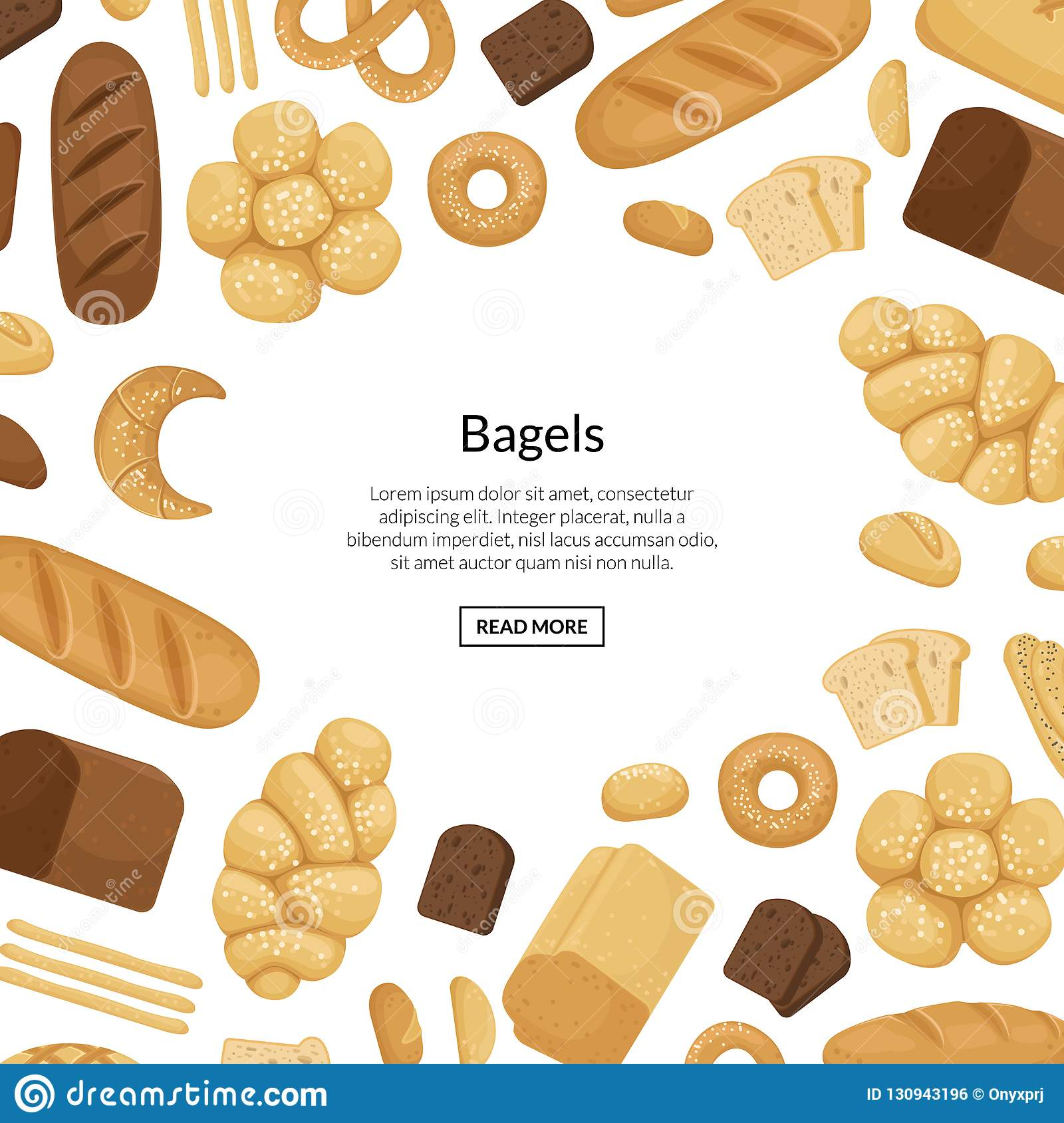 Vector cartoon bakery elements background with place for text illustration