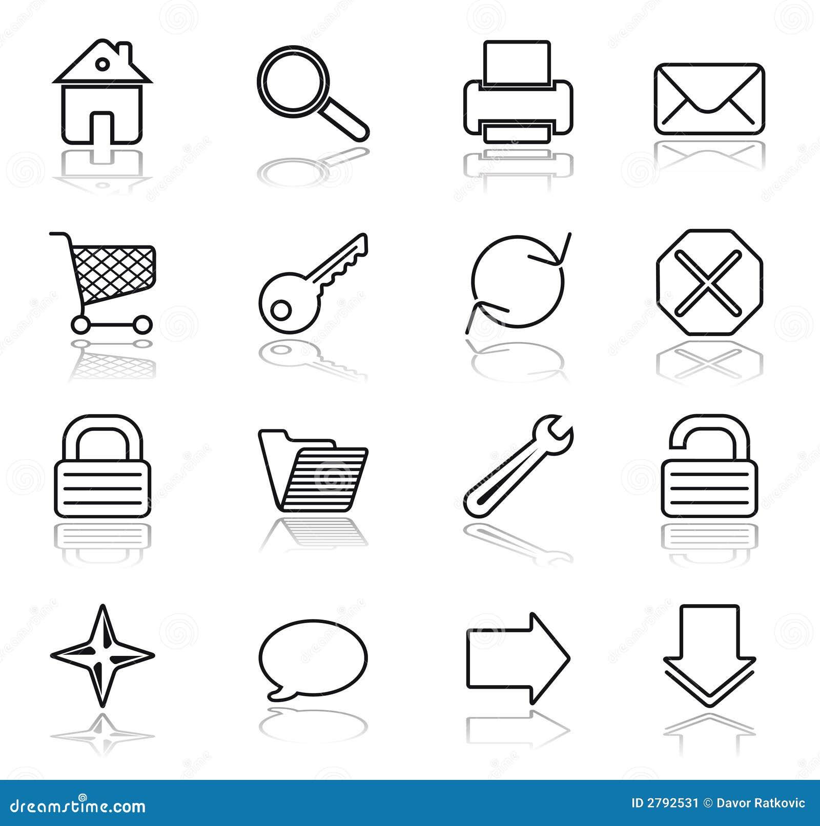 Web Black On White Icons Stock Image - Image: 2792531