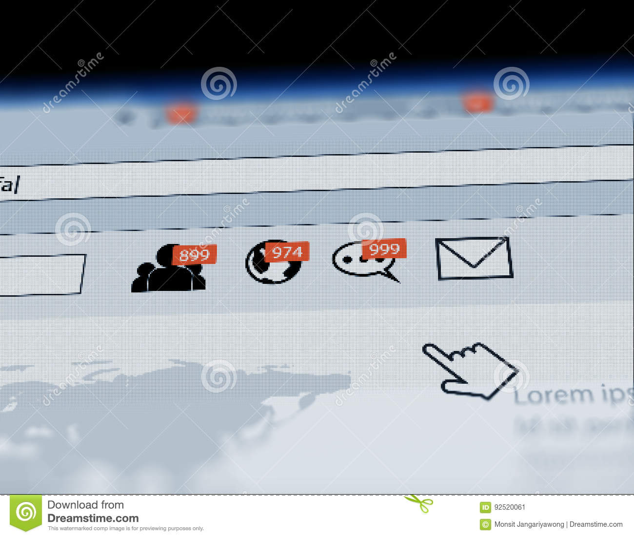 Web Browser With Social Media Notification Icon Illustration Stock What Is A Diagram