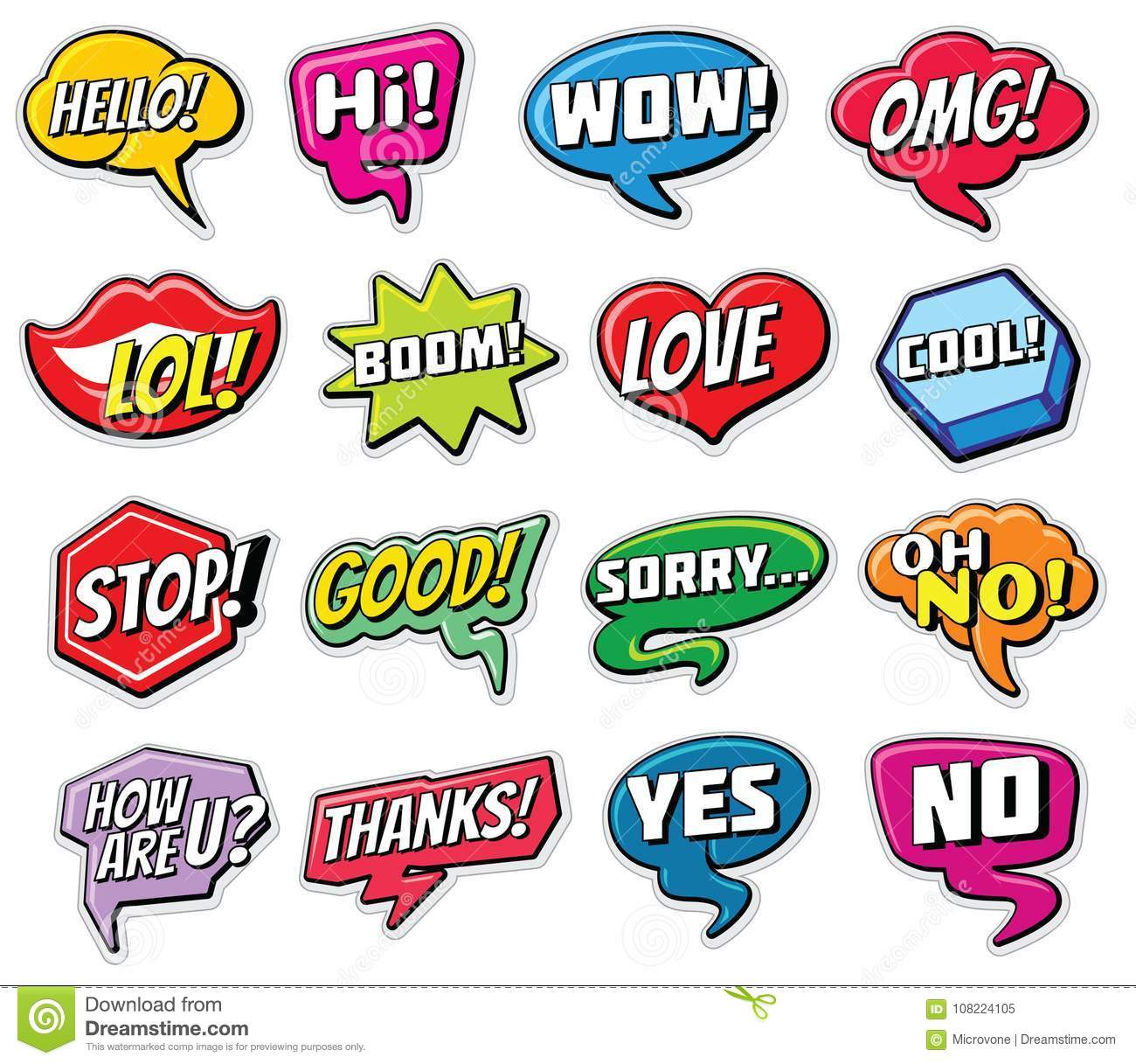 web chat vector stickers templates internet words speech bubbles