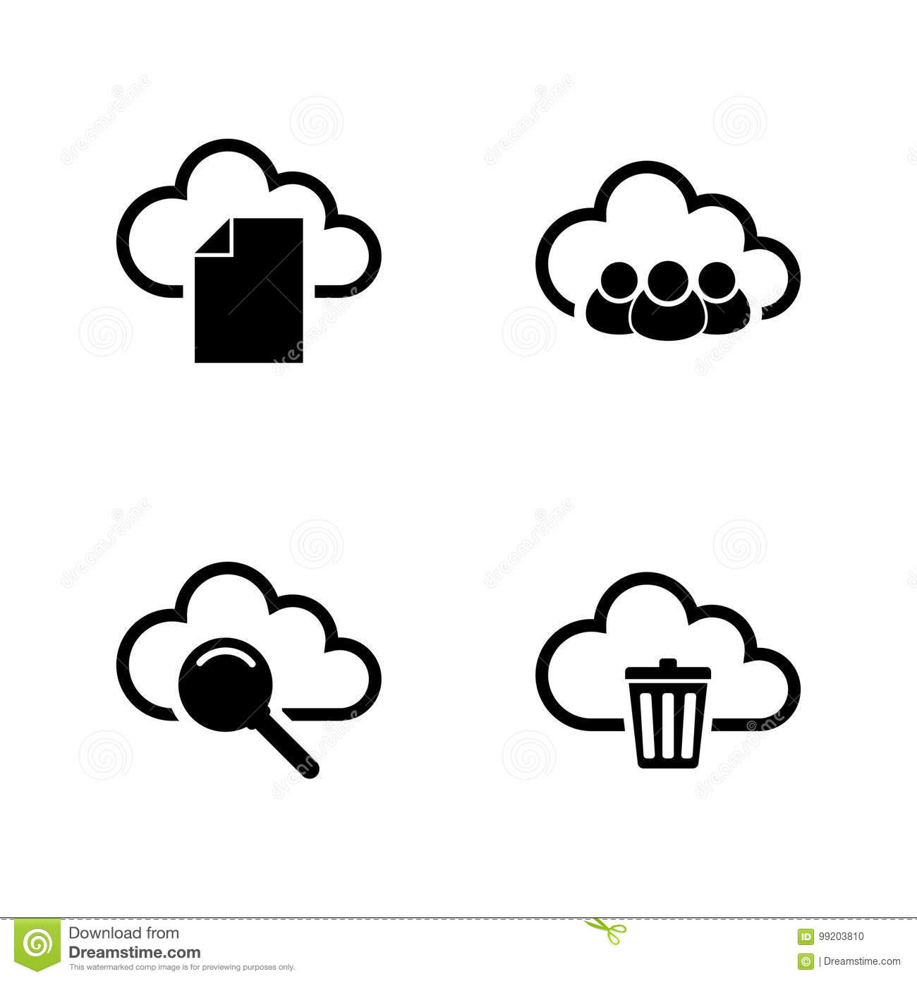 Web Cloud  Simple Related Vector Icons Stock Vector