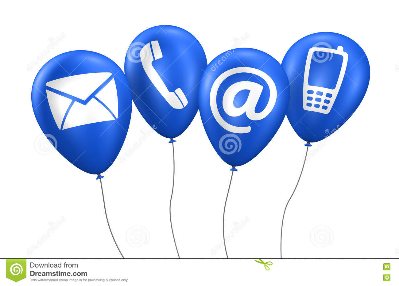 Web Contact Us Icons Blue Balloons Stock Illustration