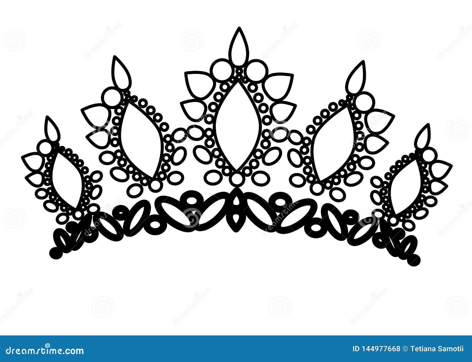 Web coronas de la tiara Diadema de la boda con los diamantes y las gemas La princesa corona vector Dise?o de la joyer?a
