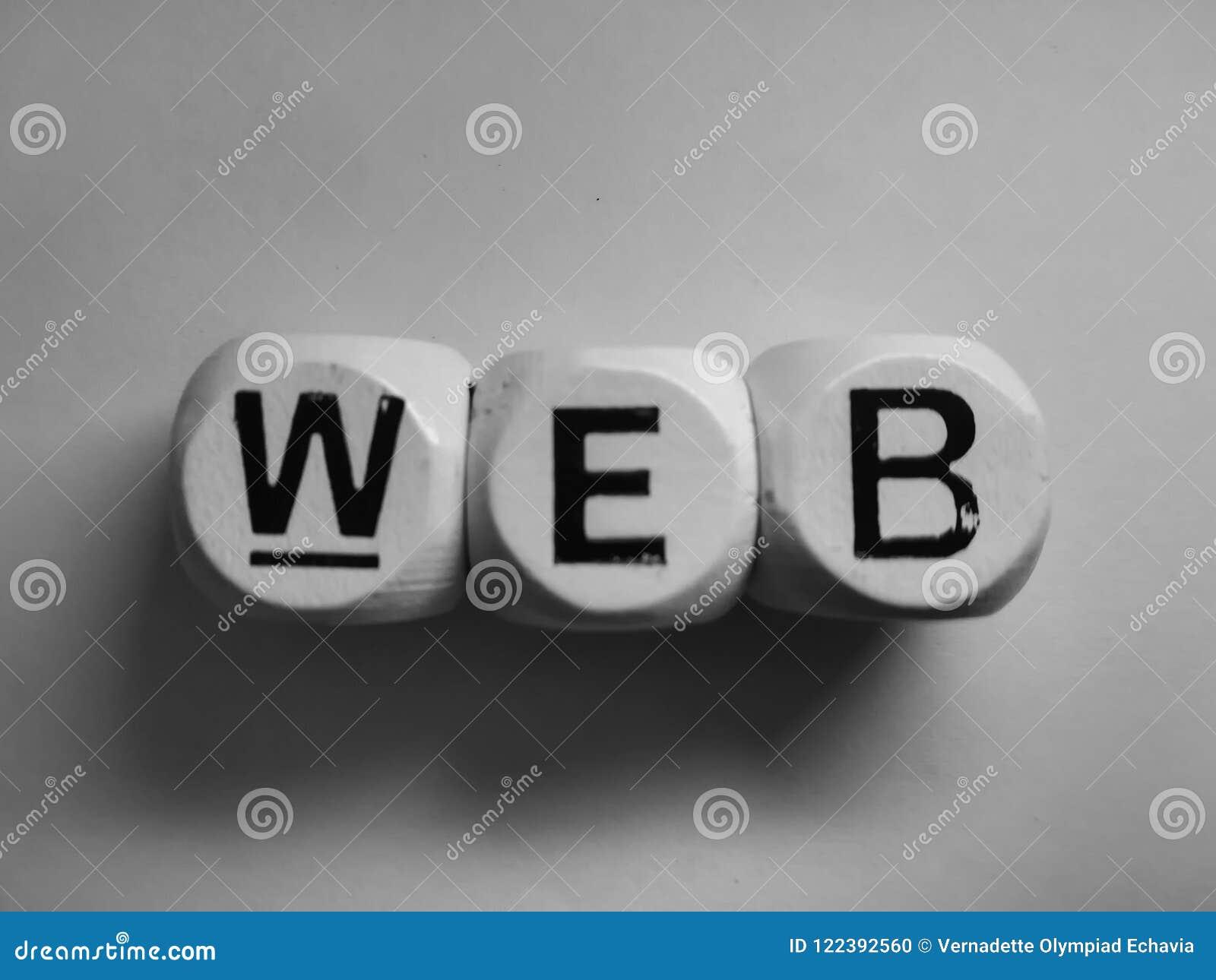 Web da palavra soletrada em dados