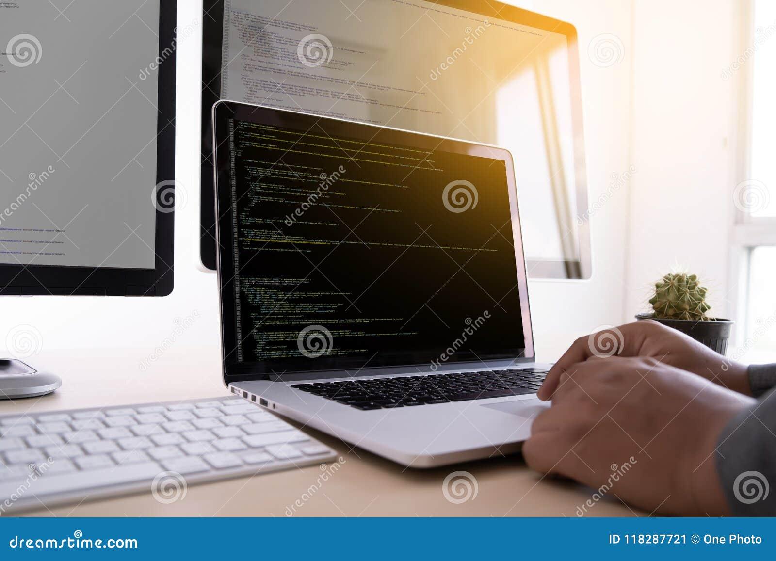 Web de programação tornando-se de trabalho Desig das tecnologias do programador