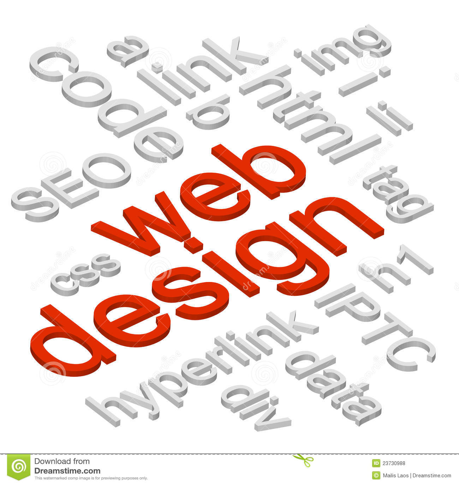 The Word Websites: Web Design 3D Words Background Stock Vector