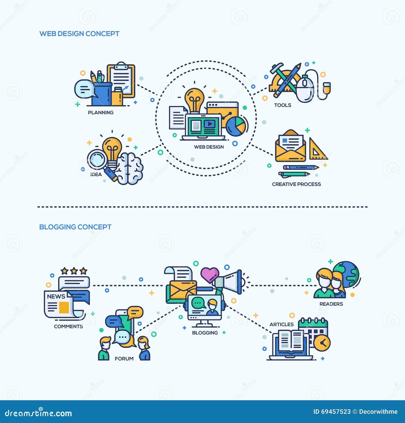 Web Design Blogging Icons Concept Compositions Set Stock