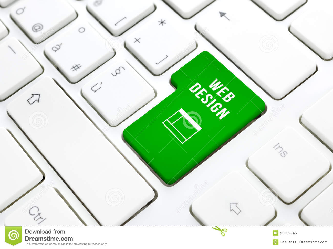 Web Design Business Concept Green Enter Button Or Key On