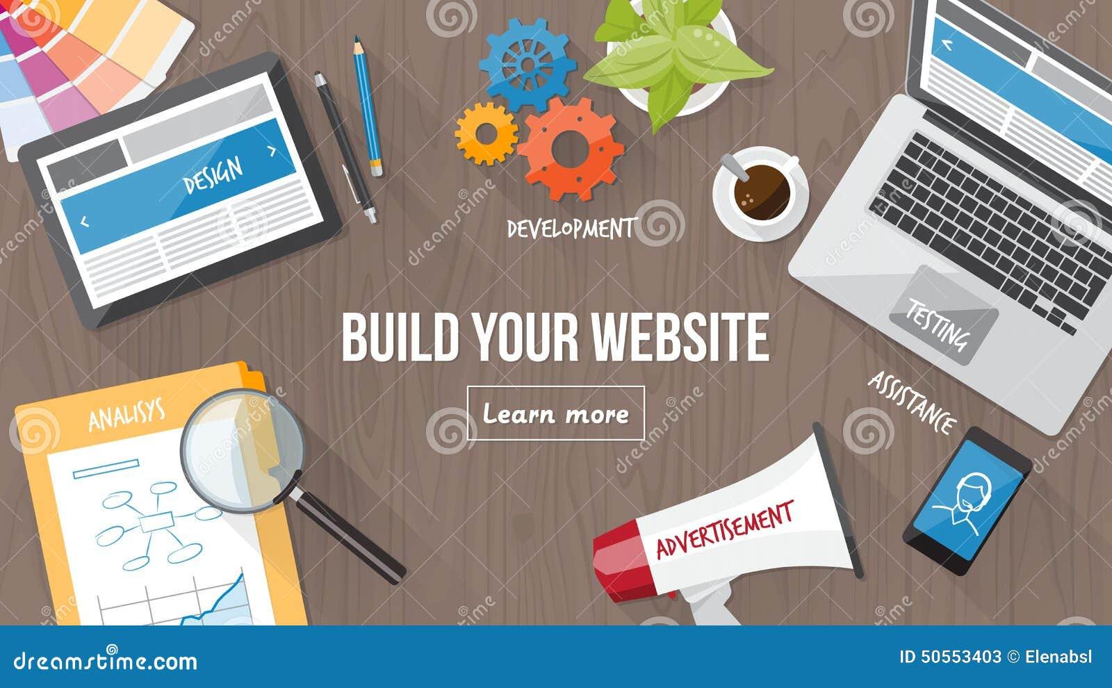 developer desk with computer, tablet and mobile, responsive web design