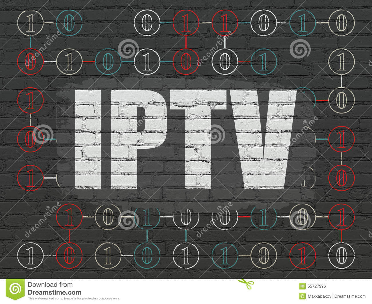 Web Design Concept: IPTV On Wall Background Stock Illustration