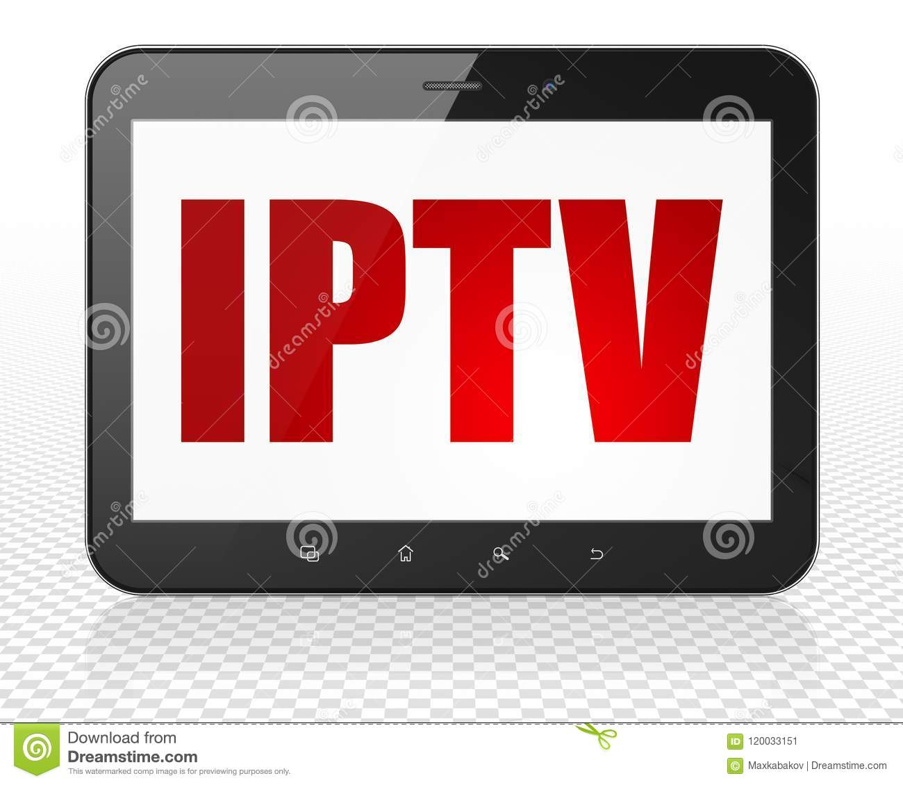 Web Design Concept: Tablet Pc Computer With IPTV On Display Stock